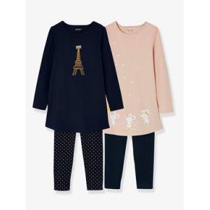 8a4fa3273627f Vertbaudet Lot de 2 chemises de nuit + 2 leggings combinables marine grise