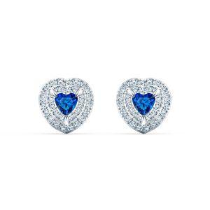 Swarovski BOUCLES D'OREILLES 5511685 - Boucles d'oreilles Métal C?ur Strass Blanc et Cristal Bleu Femme
