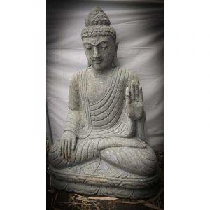Wanda-collection Bouddha extérieur zen en pierre volcanique position chakra 100 cm