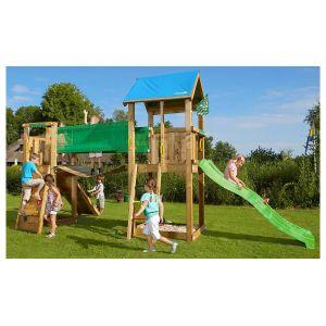 Jungle Gym Aire de jeux en bois CASTLE BRIDGE + tobogan 10 enfants