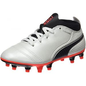 Puma One 17.4 FG Jr, Chaussures de Football Mixte Enfant, Blanc (White-Black-Fiery Coral), 35 EU
