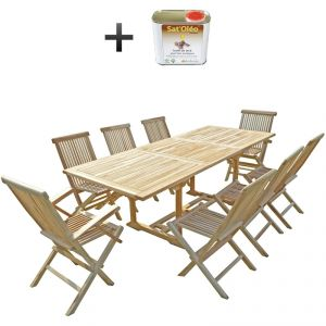 C&L Jardin Amara - Ensemble salon de jardin en teck 6 chaises 2 fauteuils + huile