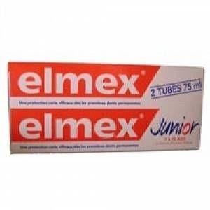 Elmex Junior - Dentifrice protection caries pour enfant 6-12 ans - 2 x 75 ml