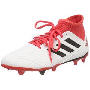 Adidas Predator 18.3 FG, Chaussures de Football Homme, Blanc (Footwear White/Core Black/Real Coral), 44 EU