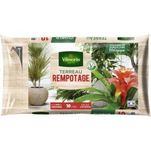 Vilmorin Terreau rempotage plante d'intérieur 10 L - Terreau rempotage plante d'intérieur -10 L - Prêt à l'emploi dans un sac avec zip.