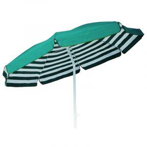 Pegane Parasol rond centré coloris Rayé Blanc/Vert Dim : H 215cm x D 200/8 baleines