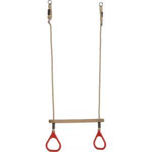 KBT Trapèze en bois avec anneaux de gym rouges