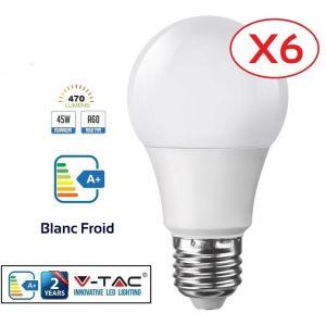 Lampesecoenergie Lot de 6 Ampoules LED V-TAC Culot E27 7W (éq. 45W) 470lm angle 200° lumière Blanc Froid 6400K