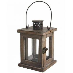 L'héritier du temps Lanterne Lampion Carré ou Bougeoir de Jardin Intérieur Extérieur en Bois & Fer Patiné Marron 13x13x20cm 20