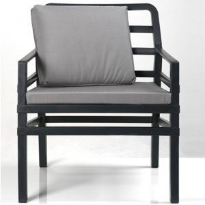 Nardi Coussin de dossier pour fauteuil de jardin ARIA 51X41 par - Gris - Extérieur - Relevable