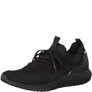 Tamaris Femme Chaussures à Lacets, Dame Chaussures de Sport lacées,Baskets,Chaussure Sportives,décontracté,Black/DK.Grey,39 EU / 5.5 UK