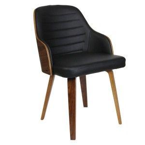 The home deco factory Chaise en bois et simili cuir Nash - Noir