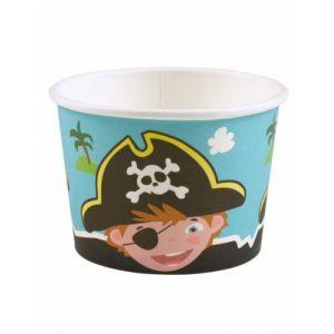 8 Pots à glace Pirates 270 ml Taille unique