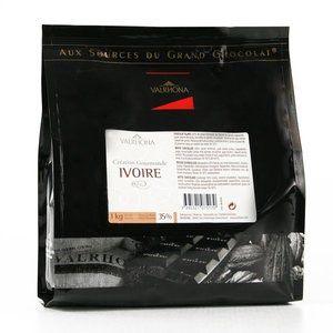 Valrhona Chocolat blanc fèves - Création gourmande Ivoire 35% - Sachet 1kg