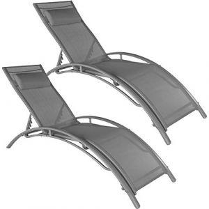 TecTake 800675 2 Bains de Soleil en Aluminium, inclinables sur 5 Positions, pour Jardin et Piscine, Coussin pour la tête Inclus – Plusieurs Coloris Disponibles –