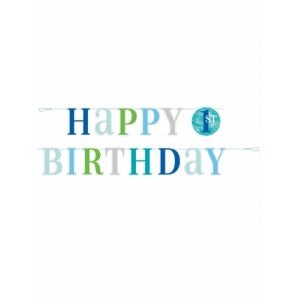 Guirlande Happy Birthday 1 an blue dots