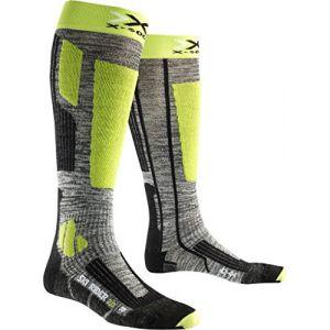 X-Socks Rider 2.0 Chaussettes de Ski Homme, Grey Melange/Green Lime, FR : M (Taille Fabricant : 39-41)