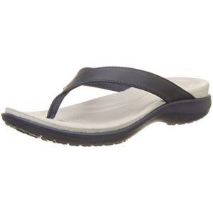 Crocs Capri V Flip,Tongs Femme, Bleu (Navy/Pearl White), 36-37 EU