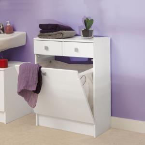 Bas de salle de bain 2 tiroirs et bac à linge