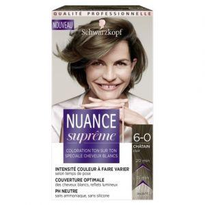Schwarzkopf Nuance Suprême - Coloration Cheveux Ton sur Ton - Châtain Clair 6-0 - Etui 60 ml