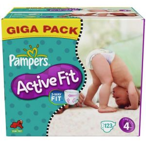 Pampers Active Fit taille 4 Maxi (7-18 kg) - Giga pack x 123 couches