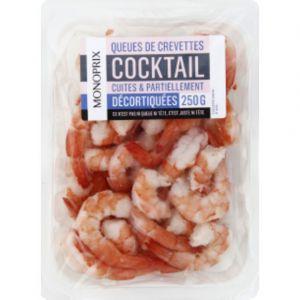 Monoprix Queues de crevettes cocktail cuites et partiellement décortiquées