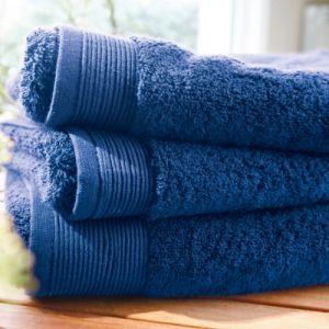 Blanc des vosges Eponge unie Gant Coton Bleu Royal 16x22 cm