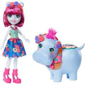 Mattel Enchantimals Mini-poupée Hedda Hippo et Figurine Animale lake aux Cheveux Courts Roses avec Jupe à Motifs en Tissu, Jouet pour Enfant, Gfn56
