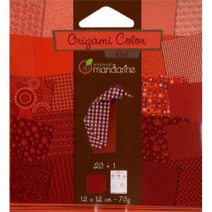 Avenue mandarine 42682O Papier pour Origami Collor de 20 Feuilles, Camaieu de Rouge 12 X 12 Cm 70 G