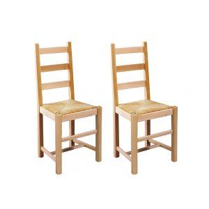 Farmer - 2 chaises en hêtre massif et assise en paille de riz