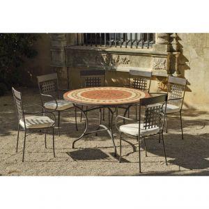 Hévéa Lorny - Table de jardin ronde 120 cm et 6 fauteuils avec coussins