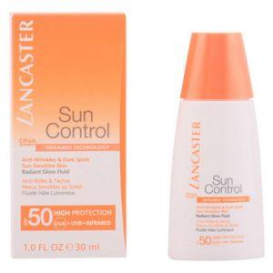 Lancaster Sun Control - Anti-rides & Taches peaux sensibles au soleil - Fluide hâle lumineux SPF 50