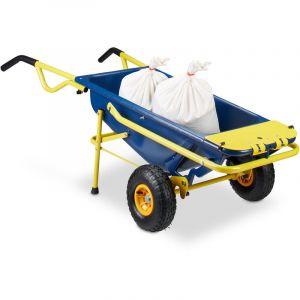 Relaxdays Brouette multifonctions 8 en 1 65 litres transport 136 kg, bleu jaune 4052025207205