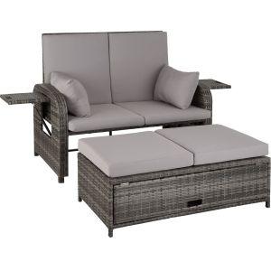 TecTake Canapé de jardin CRÈTE modulable en Bain de soleil Tabouret Coffre de rangement en Résine tressée Aluminium Gris + 1 Housse