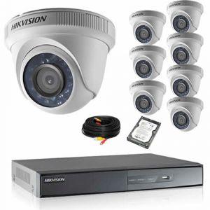 Securitegooddeal Kit de vidéosurveillance HIKVISION 8 dômes 1080P Turbo HD avec disque dur