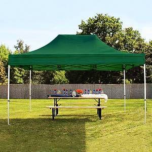Intent24 Tente pliante / pliable PREMIUM 3x4,5 m sans bâches de côté en Polyester de qualité vert fonce.FR