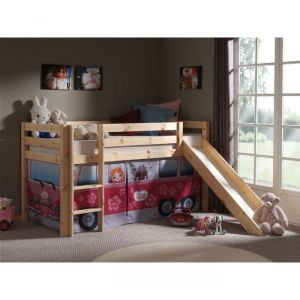 Vipack Furniture Lit Pino Little Princess pour fille avec toboggan 90 x 200 cm