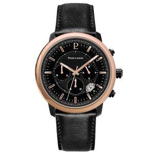 Pierre Lannier Montre 229F433 - IMPULSION Chronographe Boîtier acier noir poli lunette doré rose cadran noir bracelet cuir noir dateur Homme