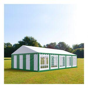 Intent24 Tente de réception 5 x 10 m PVC vert-blanc