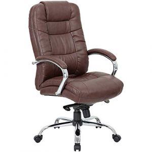 Certeo Chaise de bureau pivotante Verona avec soutien lombaire, marron - Fauteuil cuir avec accoudoirs rembourrés - Fauteuil de bureau élégant avec piétement chromé en étoile