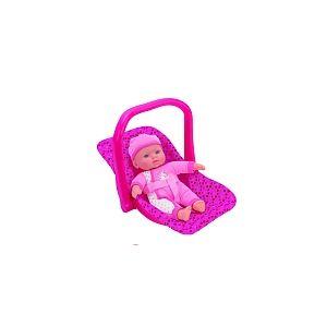 Globo Bébé 30 cm dans son siège-auto rose