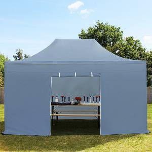 Intent24 Tente pliante / pliable PREMIUM 3x4,5 m sans fenêtre en Polyester de qualité gris fonce.FR