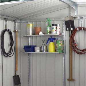 Biohort Lot de 2 étagères en acier galvanisé profondeur 21 cm pour abris de jardin Europa, AvantGarde et pour armoire à outils