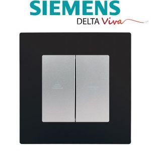 Siemens Interrupteur Volet Roulant Silver Delta Viva + Plaque Noir