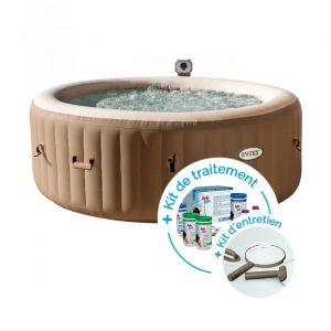 Intex Spa gonflable PureSpa Bulles 4 personnes + Kit d'entretien + Kit de traitement au brome