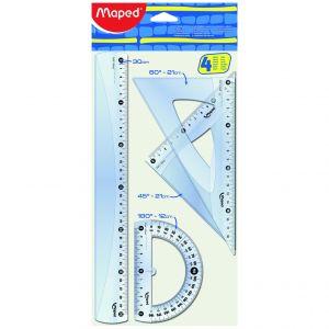 Maped Kit de traçage 1 règle 30cm, 2 équerres et 1 rapporteur