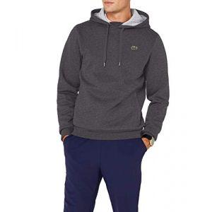 Lacoste Classic Logo sweat à capuche Hommes gris chiné T. S