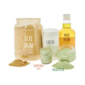 Kit pour 5 litres de peinture à la farine (ocre jaune ou rouge) Plusieurs modèles disponibles Jaune
