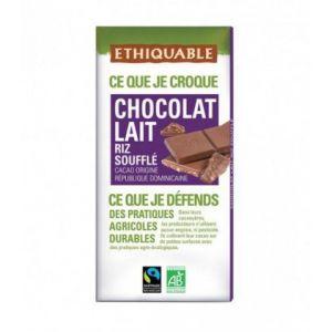 Ethiquable Chocolat Lait Riz soufflé bio & équitable 100 g - République Dominicaine