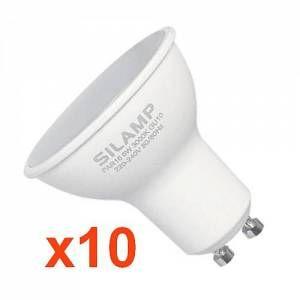Silamp Ampoule LED GU10 8W 220V (Pack de 10) - couleur eclairage : Blanc Neutre 4000K - 5500K